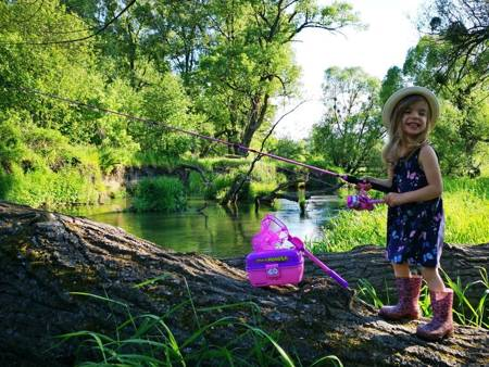 Przepiękny Spinningowy Zestaw Wędkarski Dla Dziecka - Kolor Różówy