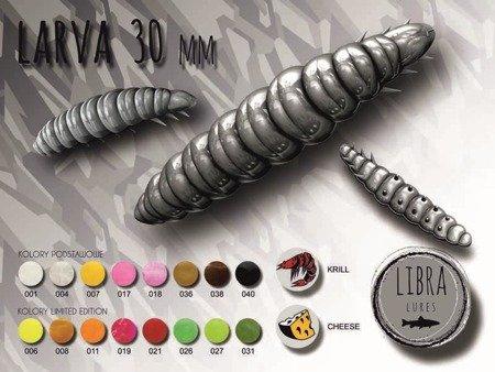 Przynęta Libra Lures Larva 3cm Kolor 040 Black Zapach Cheese op.12szt